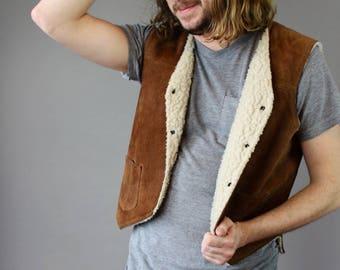 Vintage Suede Sherpa-Lined Vest