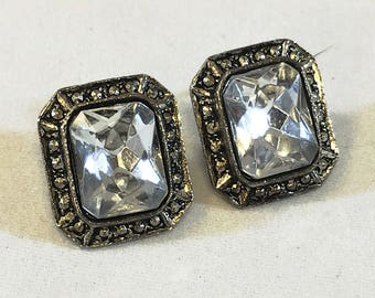 Vintage large stone earrings, converted clip on statement earrings FREE SHIPPING