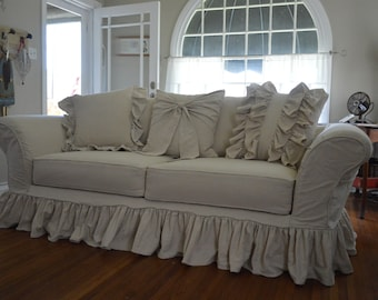 Drop Cloth Slipcover. Custom Slipcover Tailor Made To Fit Your Sofa  Perfectly. Shabby,
