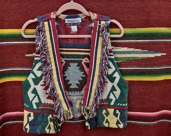 "90s It's In the Bag ""Unge-Potch-Ket"" Aztec Tapestry Vest, Women's Large"