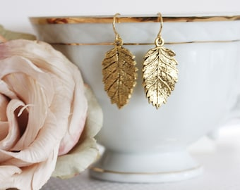 Gold Leaf Earrings Leaf Dangle Earring Everyday Jewelry