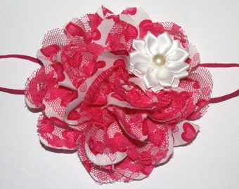 4 in. Bright Pink Chiffon Valentine's Day Heart Boutique Flower Headband (13.5 inches Normally Fits NB-6M)