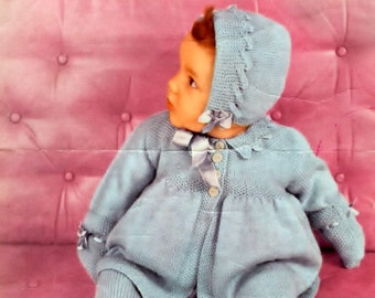 Baby 3ply Pram Set for size  20ins   - Lavenda 575 - PDF of a Vintage Knitting Pattern - Instant Download