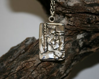 One of a kind Handcrafted Pendant , Silver Pendant , Silver Necklace ,  Sterling  Pendant, Statement Necklace,Original Design