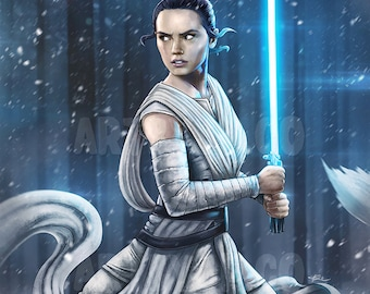 Rey | Daisy Ridley | Lightsaber | Star Wars The Force Awakens inspired Poster | digital art | painting | quality giclée print
