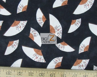 """Hanami Falls Handfan Black By Evelia For Wilmington Prints 100% Cotton Fabric 60"""" Wide By The Yard (FH-1805)"""