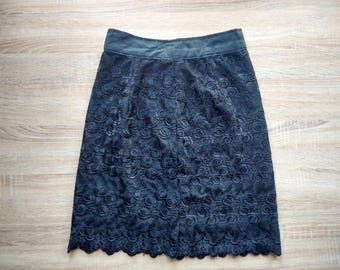 lace pencil skirt - black