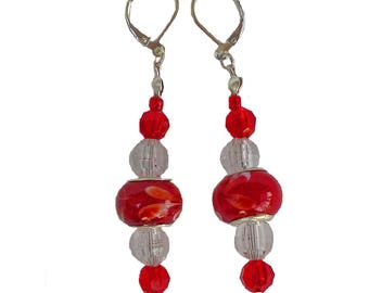 Red Bead Earrings, Drop Earrings, Dangle Earrings, Red Earrings, Lever back Earrings, Ladies Gift, Woman's Present