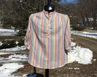 70s Miss Fashionality rainbow vertical stripes lightweight White 1/4 button Tunic Top size 42 tie up sleeves collarless bright colorful