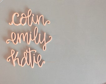Laser Cut Names Laser Cut Escort Cards Handmade Calligraphy Wooden Wedding Place Cards Pick Your Color