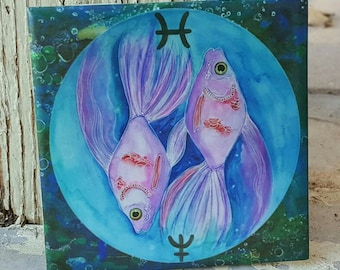 Zodiac Wall Decor - Gift For Pisces - Decorative Ceramic Tile - Fish Painting - Neptune Art - Ceramic Tile Wall Art - Galaxy Art - Space Art
