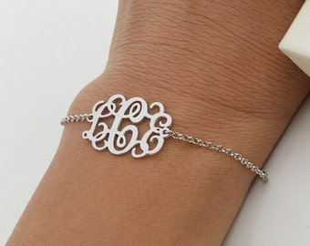 Monogram bracelet-sterling silver monogram jewelry-monogrammed gifts for everyone,you can custom any initial