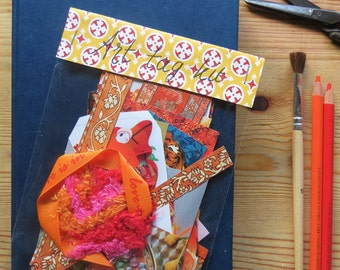Art tag kit, mini collage kit, paper goodies, magazine clippings, color coordinated