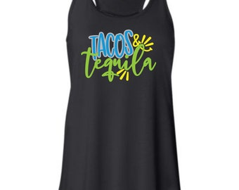 Tacos & Tequila Bella racerback tank, to 2xl