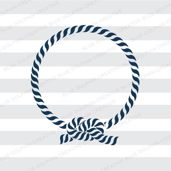 Nautical Rope Monogram Frame SVG PNG PDF Jpg Jpeg Ai Dxf