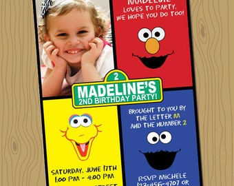 Sesame Street Birthday Invitation - Digital File, Your Print 5x7