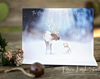 The Magic of Christmas Puppy Art Christmas Card