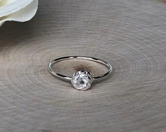Sterling Silver Rose Bud Ring