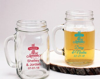 24 pcs - Eat Drink And Be Married Personalized Mason Jar Drinking Glass - JM218773