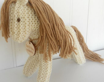 Earth Pony Waldorf Toy Stuffed Animal Horse Eco Kids Toy Natural and Eco Friendly handknit by Woolies on Etsy