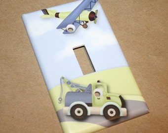 Mosaic Transportation Planes Truck Boys Kids Bedroom Baby Nursery Single Light Switch Cover LS0033