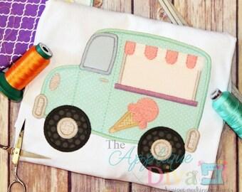 Summer Ice Cream Truck Digital Embroidery Design Machine Applique
