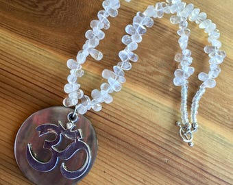 Quartz Beaded Om Necklace, Black Lip Shell Focal Necklace, Healing Necklace, Natural Quartz Beaded Necklace, Om Necklace, Energy Necklace