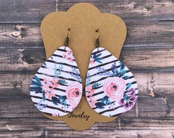 Floral and stripes earrings