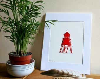 Herd Groyne Lighthouse Giclée Print