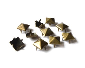 Rivets square 9 mm claw / set of 10