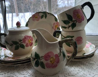 EASTER GIFT! California Pottery Fransican Ware Desert Rose 11 pcs ! Never used perfect mint cond