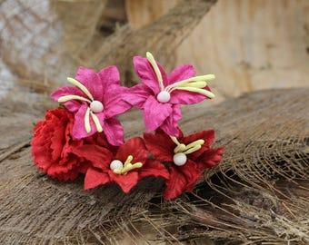 Set of 5 Small Red  Mulberry Paper Flower Hair Pins , Bridal Hair Pins, Hair Bobby Pins,U pins,Prom,Bridal Hair Accessories (FL378)