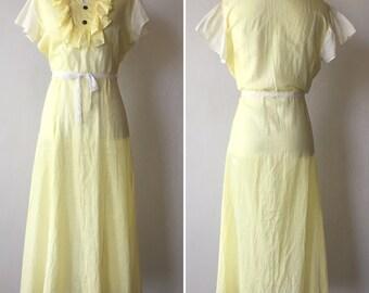 1930s Yellow and White Cotton Garden Dress