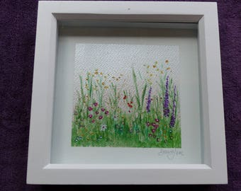 Original Acrylic painting of a flower meadow