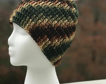 Brown, Beige, and Green Crochet Beanie hat