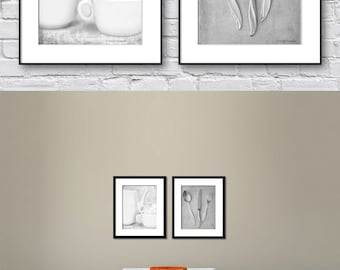 Dining Room Wall Art, Kitchen Wall Art, Black and White Set of 2 Prints, Gray Wall Art Prints of Kitchenalia