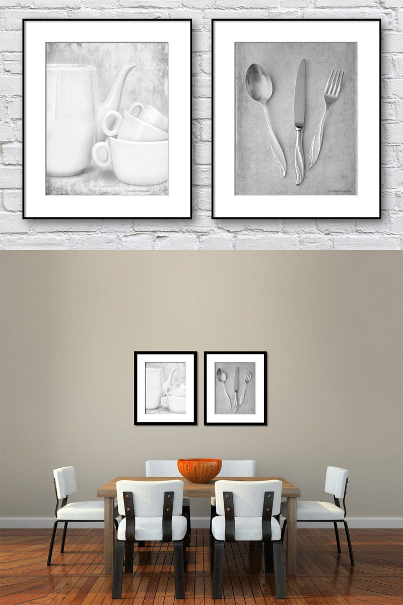 Dining Room Wall Art Kitchen Wall Art Black and White Set of