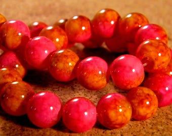 20 beads 8 mm glass 2 tone orange and fuchsia PE202 4