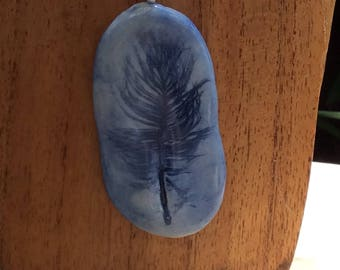 FN1 Blue porcelain feather necklace