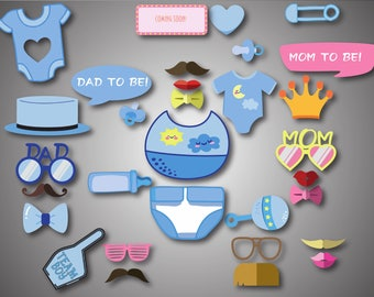 Blue Baby Shower Photo Booth Props Printable Photo Booth Props It's a Boy Baby Photobooth Props Blue Baby Boy Printable Party Props
