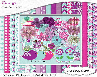 Digital Scrapbooking: Emma Digital Scrapbook Kit in Turquoise Blue, Purple, Instant Download