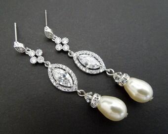 Bridal earrings bridal Pearl earrings pearl earrings wedding Swarovski earrings wedding rhinestone earrings bridal chandelier earrings ISLA