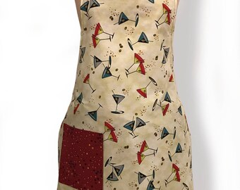 Full figured apron, Martini Retro Print Apron, Women's apron,