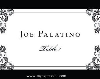 Wedding Place Cards (Flat ) Template – Elegant Black Damask - Instant Download - Editable MS Word File