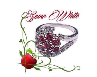 Snow White Garnet CZ 925 Sterling Silver Size 6 Ring