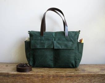 Waxed canvas tote, Leather diaper bag, Baby shower gift, Birthday gift for her, Canvas diaper bag, Weekender bag Travel bag Forest Green Bag