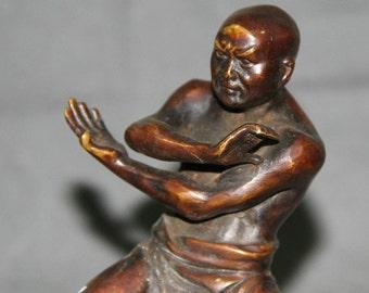 "Bronze Shaolin Kung Fu Monk 7"" Statue Superb Chinese Buddhist Martial Arts Artifact Figure Stunning Ancient Hand Cast Statue"