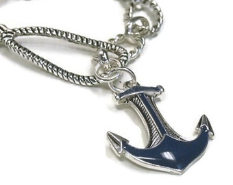 Sale  Anchor Bracelet - Nautical Link Bracelet - Beach - Summer - Silver Anchor Chain Bracelet - Blue Anchor - Sea Life - Ocean - Cruise - R