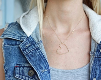 Heart Necklace Gold, Gold Filled Heart Necklace, Gold Filled Necklace, Gold Necklace, Wire Heart Necklace, Large Heart, Heart Necklace