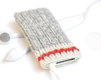 Hand Knit iPod Nano Cozy Case -  Take A Hike Design | iPod Nano 7 iPod Nano 5 iPod Nano 4